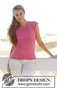 """Knitted DROPS top with lace pattern in """"Cotton Merino"""". Size: S - XXXL."""