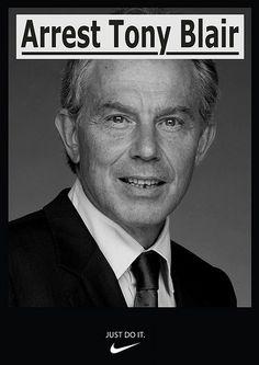 Bilderberger Tony Blair, vindt dat de voormalige premier voor de rechter gesleept moet worden wegens bij de invasie van Irak begane oorlogsmisdaden.