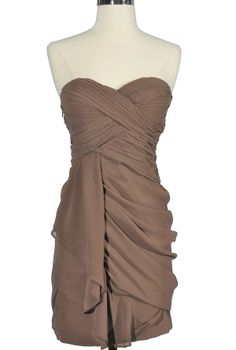 Dreaming of You Chiffon Drape Party Dress in Coffee by Minuet    www.lilyboutique.com