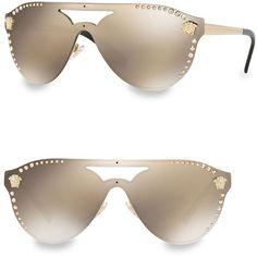 Versace 42MM 2161B Aviator Sunglasses (4.953.600 IDR) ❤ liked on Polyvore featuring accessories, eyewear, sunglasses, versace glasses, red mirror sunglasses, red lens sunglasses, red glasses and polka dot sunglasses