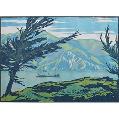 School of William Rice, Woodblock print of Glacier Lake,  ca. 1920 (probably Rice's work, unsigned)