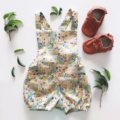 Stella Romper (Natural) - Two Little Stars Little Star, Leaf Prints, Kids Outfits, Handmade Items, Rompers, Stars, Sewing, Natural, Fashion
