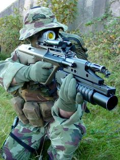 Irish Army Ranger with steyer aug, equipped with scope and grenade launcher