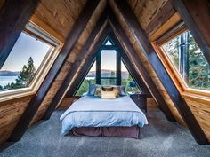 Decorative Rocks Ideas : Amazing A-frame cabin with hot tub 2 fireplaces & more. Lakeview Tree House is like the Tahoe City vacation home you dream about but its real and waitin A Frame Cabin, A Frame House, Cabin Homes, Log Homes, Bedroom Loft, Bedroom Decor, A Frame Bedroom, Master Bedroom, Master Suite