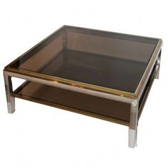 Gilt brass and chrome steel coffee table, two smoked glass top, Circa France. Height: 41 cm, glass top: (Broken piece of glass in a corner). Steel Coffee Table, Brass Coffee Table, Coffee Table Styling, Coffee Pot Cleaning, Home Coffee Machines, Buy Coffee Beans, Coffee Cocktails, Cocktail Tables, Messing