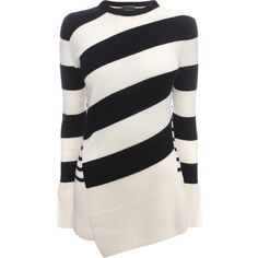 Alexander McQueen Asymmetric Patchwork Knit Jumper (1 630 BGN) ❤ liked on Polyvore featuring tops, sweaters, alexander mcqueen, black top, black sweater, striped crewneck sweater, striped sweater and crewneck sweater