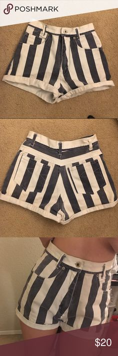 Stripe highwaisted shorts Super highwaisted shorts with stripes pattern, very cute and flattering! My friend bought it for me from Japan for almost $50. Size 25 NOT brandy Melville   Pacsun Brandy Melville zara urban outfitters unif obey free people forever21 gap guess levis denim vintage nike adidas obey supreme Victoria's secret lululemon Brandy Melville Shorts