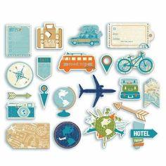 Formes découpées Globe trotter Printable Stickers, Cute Stickers, Planner Stickers, Scrapbook Journal, Travel Scrapbook, Album Photo Scrapbooking, Travel Doodles, Bullet Journal Travel, Scrapbook Stickers