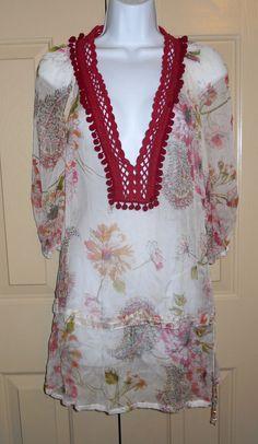 Monique Leshman cream burgundy floral gauze sheer cover up tunic shirt dress S #MoniqueLeshman #Tunic