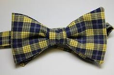 plaid cotton bow tie - yellow & navy www.scovilldesign.com