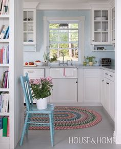 Nice Beach Blue and White Kitchen..vintage chic cottage + rustic..do kitchen like this w/paint