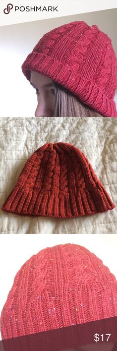 Rusty Red Funfetti Speckled Winter Cable Knit Hat Excellent condition cozy cap. No holes or pilling. Burnt reddish tone with yellow and light blue specs. Winter wonderland ski and snow hat. Beanie style. Label says white knife brand. Acrylic. Urban Outfitters Accessories Hats