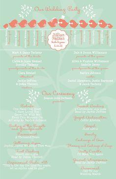 Mint and Coral Love Bird Wedding Programs, Budget Wedding Invitations, Custom Listing for jillianraymond7 by InvitingMoments on Etsy https://www.etsy.com/listing/266689069/mint-and-coral-love-bird-wedding