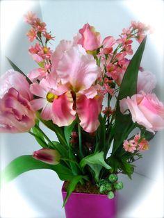 Floral Table Centerpiece-Pink Floral Centerpiece by NaturesTrueArt