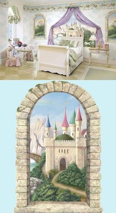Mountainview Castle Window Peel and Stick Mural - Wall Sticker Outlet - Walls already painted this color and have this crown molding and base molding in room with a white double bed like this rather than twin.  Favorite so far.  her favorite colors are green and purple and she likes castles and unicorns. :-)