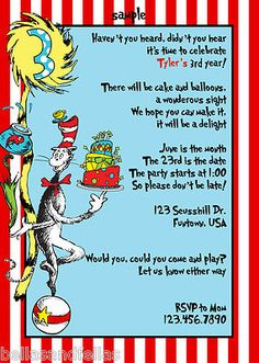 YAY!  The final invite! Dr. Seuss Cat in the hat birthday party invitation.  Can't wait to get them!