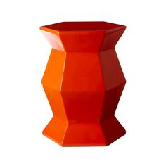 Orange Hex Lacquer Accent Table - Placed next to the glider, this gem of a table will hold essentials like a glass of water and is oh-so fun to look at. #PNshop