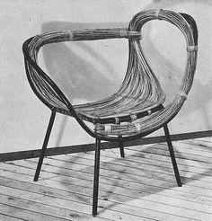Polish design 1950's silla mimbre