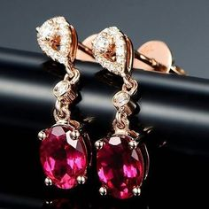 """16 Likes, 3 Comments - Suma Boutique (@sumagemboutique) on Instagram: """"1.84 Carats Natural Red Tourmaline with Diamond 14K Solid Rose Gold Fine Earring  Main Stone :…"""""""