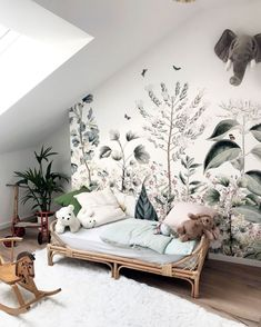 Today we are sharing 10 Stylish Nursery Wallpaper Ideas that just might convince to wallpaper your baby's nursery. Baby Room Decor, Nursery Room, Kids Bedroom, Nature Bedroom, Nursery Ideas, Nature Inspired Bedroom, Wall Murals Bedroom, Kids Wall Murals, Boy Bedrooms