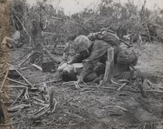 Marine Shares His Water, Peleliu, 1944