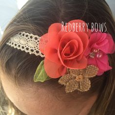 MOANA HEADBAND on Ecru Crochet Lace Tieback by redberrybows