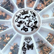 12 Shapes 3D Metal Christmas Nail Art Decoration Slice Black Nail Stickers Decal Foil Wheel NEW(China (Mainland))