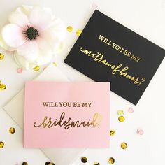 Will you be my Bridesmaid   Maid of Honor Cards with Envelopes