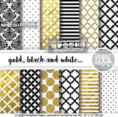 https://www.etsy.com/mx/listing/484006778/feliz-ano-nuevo-oro-negro-y-dorado #goldfoil #blackandwhite #photography #damask #goldpaper #digitalpaper #moroccan #stripes