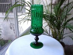 Hand Crafted Blown Art Glass Green Pedestal Vase
