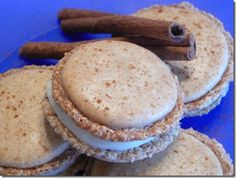 Cinnamon Roll French Macarons - scrumptious brown sugar cinnamon shell with a rich cream cheese filling.