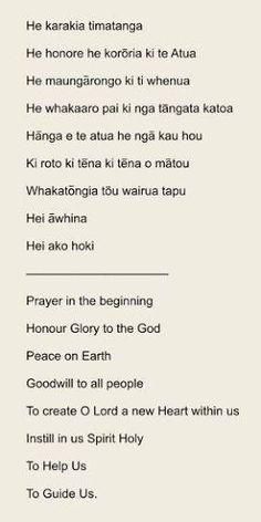 Image result for maori karakias Maori Words, Maori Patterns, Matou, Learning Spaces, Teaching Resources, New Zealand, Prayers, Preschool, Language