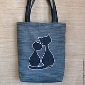Adorable reverse appliqué denim tote