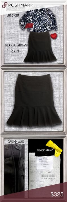 """Giorgio Armani Black wool Italian flounce skirt 8 Stunning Armani skirt in excellent like new condition & freshly dry cleaned. Horizontal banding & fitted at hips then flounces at knees. Side zip closure with single button tab.   Made of 95% Pure New Wool, 5% Spandex. Rayon lined at hips. Made in Italy. Italian size 42 which is equivalent to a US size 8.   Waist= 31"""" Length= 25""""  🚫No trades🚫No PayPal  🚭 home Giorgio Armani Skirts Midi"""