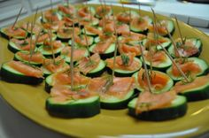 salmon cucumber app, mixed a little greek yogurt with dill and lemon and drizzled on top