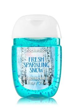 Fresh Sparkling Snow - PocketBac Sanitizing Hand Gel - Bath & Body Works - Now with more happy! Our NEW PocketBac is perfectly shaped for pockets & purses, making it easy to kill of germs when you're on-the-go! New, skin-softening formula conditions Bath Body Works, Bath N Body, Solution Hydro-alcoolique, Bath And Bodyworks, Perfume, Hand Care, Lip Cream, Lush, Body Spray