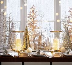 Christmas tablescape from the Pottery Barn Gold Christmas Decorations, Christmas Tablescapes, Tree Decorations, Wedding Decorations, Christmas Centerpieces For Table, Holiday Tables, Wedding Centerpieces, Silver Christmas, Noel Christmas