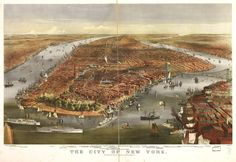 Birds eye map of New York in 1870 [2,300 x 1,580]CLICK HERE FOR MORE MAPS!thelandofmaps.tumblr.com