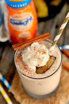 A bananas Foster smoothie — because you should play with fire when you're half asleep anyway. #Breakfast #Snacks