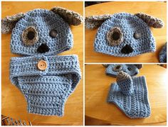 Photography Prop Set, Crochet Puppy Hat and Diaper Cover, Newborn Boy, Infant…
