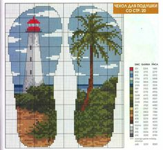 cross stitch foot prints with lighthouse Cross Stitch Sea, Cross Stitch Bookmarks, Cross Stitch Flowers, Cross Stitch Charts, Funny Cross Stitch Patterns, Cross Stitch Designs, Cross Stitching, Cross Stitch Embroidery, Lighthouse