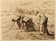 Master drawings, watercolours and prints from the Ionides Bequest - Victoria and Albert Museum ...Jean François Millet (1814-75), 'The Gleaners', About 1855-1856, Etching, Museum no. CAI 311 Bequeathed by Constantine Alexander Ionides