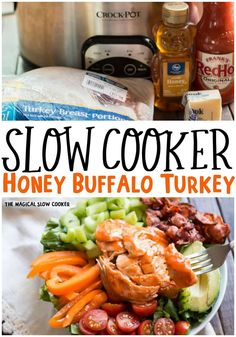 Slow Cooker Honey Buffalo Turkey Breast is sweet and spicy and perfect for topping a summer salad. - The Magical Slow Cooker Cooking Turkey, Crock Pot Cooking, Slow Cooker Recipes, Crockpot Recipes, Crockpot Dishes, Cookbook Recipes, Cooking Recipes, The Magical Slow Cooker, Easy Homemade Desserts