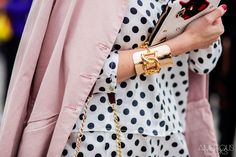Polka dot shirt at Valentino AW15 Street Style by Ambitious Looks PFW