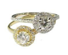 Mothers day gift Unique Two Diamond Engagement Rings Halo