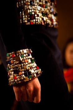 """5.1.15 craftsmanship - I love how this piece is taking out or """"changing"""" traditional fashion, love how Chanel took the idea of the byzantine walls and make them real on the garments."""