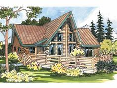 Log Houses House Plan with 1384 Square Feet and 1 Bedrooms(s) from Dream Home Source | House Plan Code DHSW11604