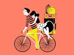 Scott&Lisa - print - cute valentines illustration of a couple riding a bike or bicycle with suitcases, travelling.In black, peach, yellow Anim Gif, Gif Animé, Animated Gif, Illustrations, Illustration Art, Bicycle Illustration, Valentines Illustration, Animation, Behind Blue Eyes