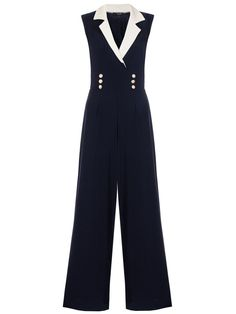 Quiz Navy And Cream Contrast Lapel Jumpsuit Contrast, Womens Fashion, Ladies Fashion, Jumpsuits, Cream, Navy, Cos, Clothes, Nautical