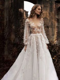 Fitted Wedding Dress Lace Long Sleeves Wedding Evening Dresses,Prom Dress With Sleeves,Front Slit E on Luulla Evening Dresses For Weddings, Wedding Dress Trends, Wedding Dress Styles, Dream Wedding Dresses, Bridal Dresses, Whimsical Wedding Dresses, Whimsical Dress, Wedding Ideas, Wedding Inspiration